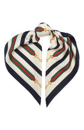 Женский шелковый платок GUCCI белого цвета, арт. 626781/3G001 | Фото 1