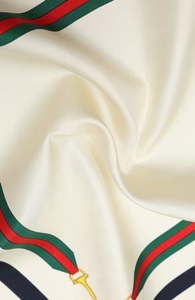 Женский шелковый платок GUCCI белого цвета, арт. 626781/3G001 | Фото 2