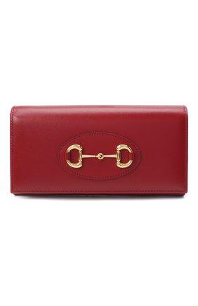 Женские кошелек horsebit 1955 на цепочке GUCCI красного цвета, арт. 621888/0YK0G | Фото 1
