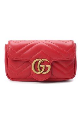 Женская сумка gg marmont super mini GUCCI красного цвета, арт. 476433/DTDCT | Фото 1 (Размер: mini; Ремень/цепочка: На ремешке; Материал: Натуральная кожа; Сумки-технические: Сумки через плечо)