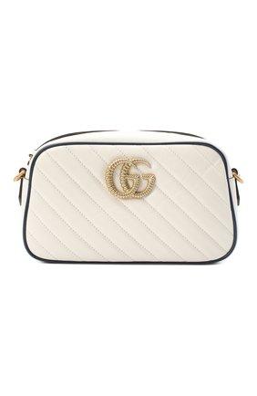 Женская сумка gg marmont small GUCCI белого цвета, арт. 447632/00LFX | Фото 1