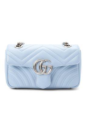 Женская сумка gg marmont mini GUCCI голубого цвета, арт. 446744/DTDIP | Фото 1