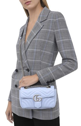 Женская сумка gg marmont mini GUCCI голубого цвета, арт. 446744/DTDIP | Фото 2