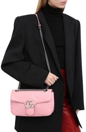 Женская сумка gg marmont small GUCCI светло-розового цвета, арт. 443497/DTDIY | Фото 2