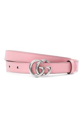 Женский кожаный ремень GUCCI светло-розового цвета, арт. 409417/AP00P   Фото 1 (Материал: Кожа)