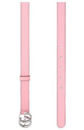 Женский кожаный ремень GUCCI светло-розового цвета, арт. 409417/AP00P   Фото 2 (Материал: Кожа)