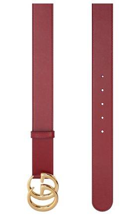 Женский кожаный ремень GUCCI красного цвета, арт. 400593/0YA00 | Фото 2 (Материал: Кожа)