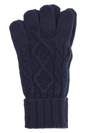 Мужские кашемировые перчатки JOHNSTONS OF ELGIN темно-синего цвета, арт. HAY02852   Фото 1