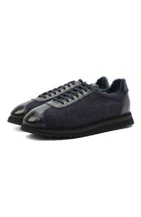 Мужские комбинированные кроссовки DOUCAL'S темно-синего цвета, арт. DU1791WINNPM0082B15/LEATHER T0NGUE | Фото 1