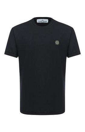 Мужская хлопковая футболка STONE ISLAND темно-синего цвета, арт. 731524113 | Фото 1