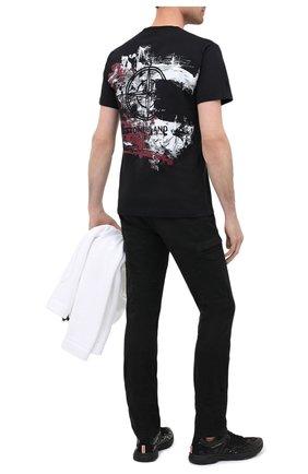 Мужская хлопковая футболка STONE ISLAND черного цвета, арт. 73152NS81 | Фото 2