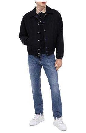 Мужское хлопковое поло GUCCI темно-синего цвета, арт. 598949/XJB0Q | Фото 2
