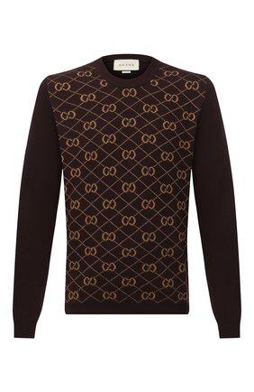 Мужской шерстяной джемпер GUCCI коричневого цвета, арт. 626288/XKBFB | Фото 1