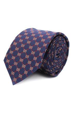 Мужской шелковый галстук GUCCI синего цвета, арт. 625461/4E002 | Фото 1