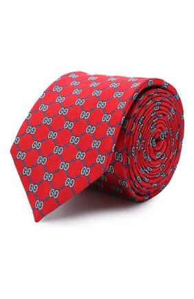 Мужской шелковый галстук GUCCI красного цвета, арт. 625461/4E002 | Фото 1
