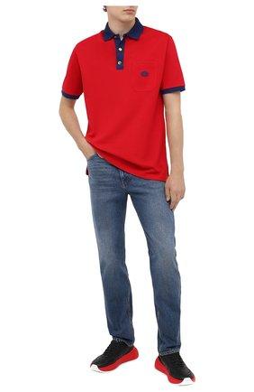 Мужское хлопковое поло GUCCI красного цвета, арт. 625323/XJCNZ | Фото 2