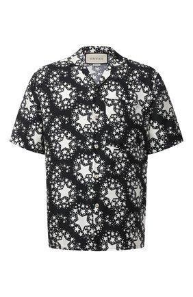 Мужская шелковая рубашка GUCCI черно-белого цвета, арт. 624524/ZAENN | Фото 1