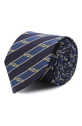 Мужской шелковый галстук GUCCI синего цвета, арт. 624077/4E002 | Фото 1