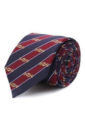 Мужской шелковый галстук GUCCI бордового цвета, арт. 624077/4E002 | Фото 1