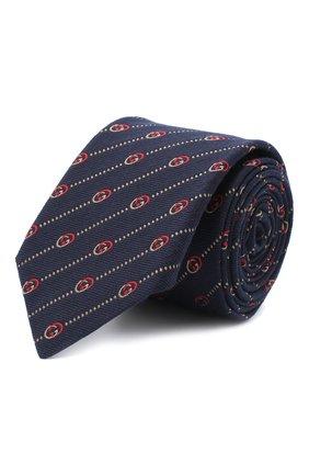 Мужской галстук из шелка и шерсти GUCCI темно-синего цвета, арт. 624059/4E609 | Фото 1