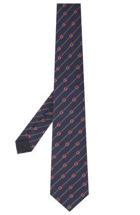 Мужской галстук из шелка и шерсти GUCCI темно-синего цвета, арт. 624059/4E609 | Фото 2