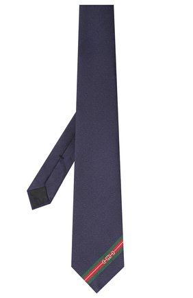 Мужской шелковый галстук GUCCI темно-синего цвета, арт. 624057/4E002 | Фото 2