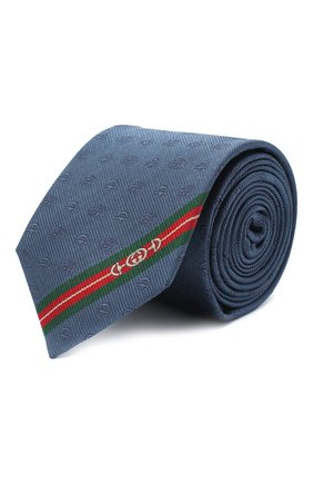 Мужской шелковый галстук GUCCI синего цвета, арт. 624057/4E002 | Фото 1