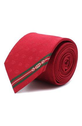 Мужской шелковый галстук GUCCI красного цвета, арт. 624057/4E002 | Фото 1