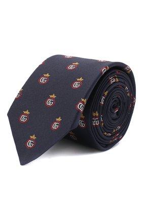Мужской шелковый галстук GUCCI темно-синего цвета, арт. 624054/4E002 | Фото 1