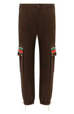 Мужской хлопковые брюки-карго GUCCI коричневого цвета, арт. 623986/XDBA7 | Фото 1