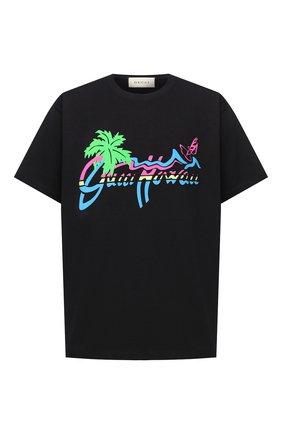 Мужская хлопковая футболка GUCCI черного цвета, арт. 616036/XJCSR | Фото 1