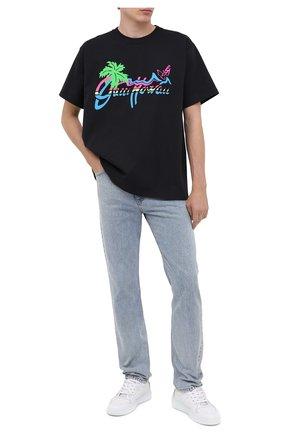 Мужская хлопковая футболка GUCCI черного цвета, арт. 616036/XJCSR | Фото 2