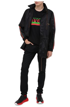 Мужская хлопковая футболка GUCCI черного цвета, арт. 616036/XJC0Q | Фото 2