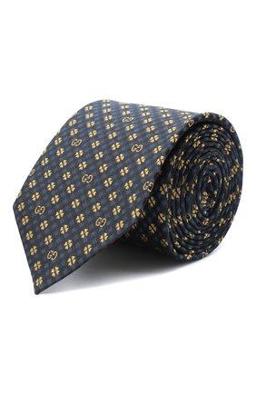 Мужской шелковый галстук GUCCI синего цвета, арт. 597126/4E002 | Фото 1