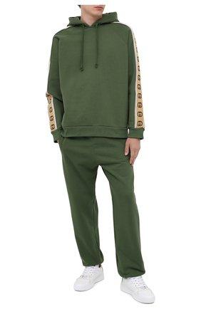 Мужской хлопковое худи GUCCI зеленого цвета, арт. 596230/XJBUW | Фото 2
