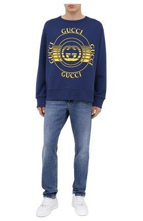 Мужской хлопковый свитшот GUCCI синего цвета, арт. 475532/XJCRR | Фото 2