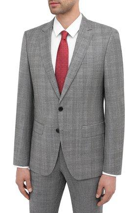 Мужской костюм из шерсти и шелка BOSS серого цвета, арт. 50438553 | Фото 2