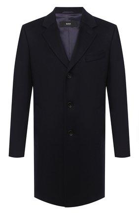 Мужской пальто из шерсти и кашемира BOSS темно-синего цвета, арт. 50438689 | Фото 1