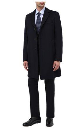 Мужской пальто из шерсти и кашемира BOSS темно-синего цвета, арт. 50438689 | Фото 2