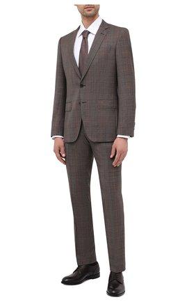 Мужской шерстяной костюм BOSS коричневого цвета, арт. 50438567 | Фото 1