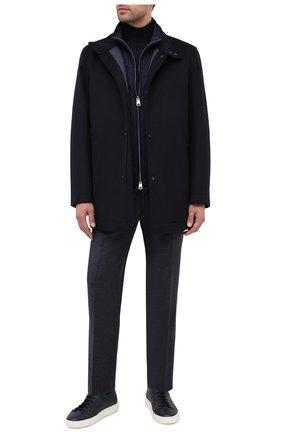 Мужской шерстяное пальто BOSS темно-синего цвета, арт. 50438924 | Фото 2