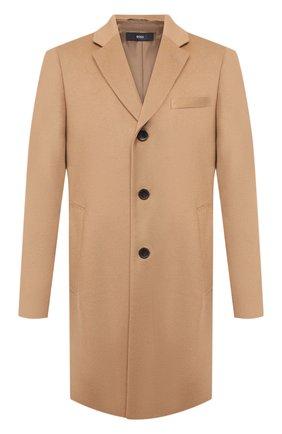 Мужской пальто из шерсти и кашемира BOSS бежевого цвета, арт. 50438689   Фото 1
