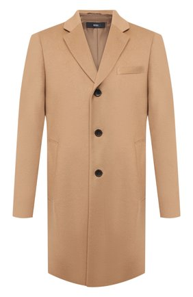 Мужской пальто из шерсти и кашемира BOSS бежевого цвета, арт. 50438689 | Фото 1