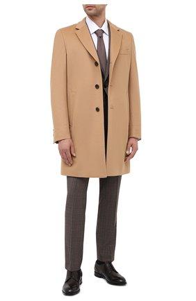 Мужской пальто из шерсти и кашемира BOSS бежевого цвета, арт. 50438689   Фото 2