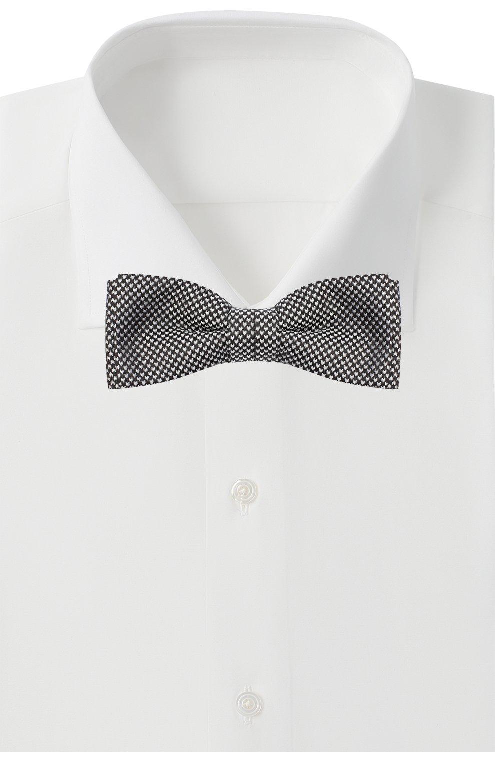 Мужской шелковый галстук-бабочка BOSS черно-белого цвета, арт. 50441952 | Фото 2