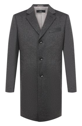 Мужской пальто из шерсти и кашемира BOSS серого цвета, арт. 50438689   Фото 1