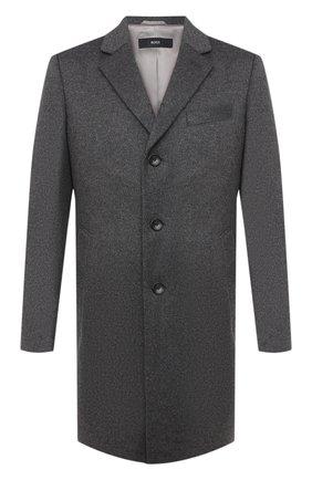 Мужской пальто из шерсти и кашемира BOSS серого цвета, арт. 50438689 | Фото 1