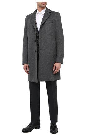 Мужской пальто из шерсти и кашемира BOSS серого цвета, арт. 50438689   Фото 2