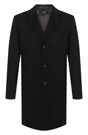 Мужской пальто из шерсти и кашемира BOSS черного цвета, арт. 50438689   Фото 1