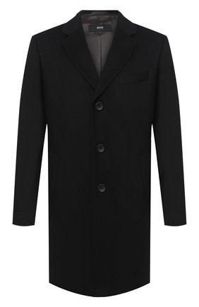 Мужской пальто из шерсти и кашемира BOSS черного цвета, арт. 50438689 | Фото 1